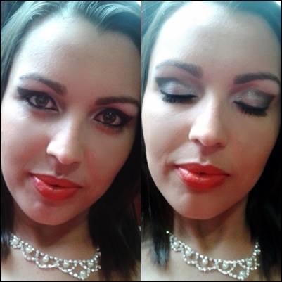 Essa foi a maquiagem, nossa hoje olho e me arrependo, eu poderia ter pedido algo mais suave rsrsrs...